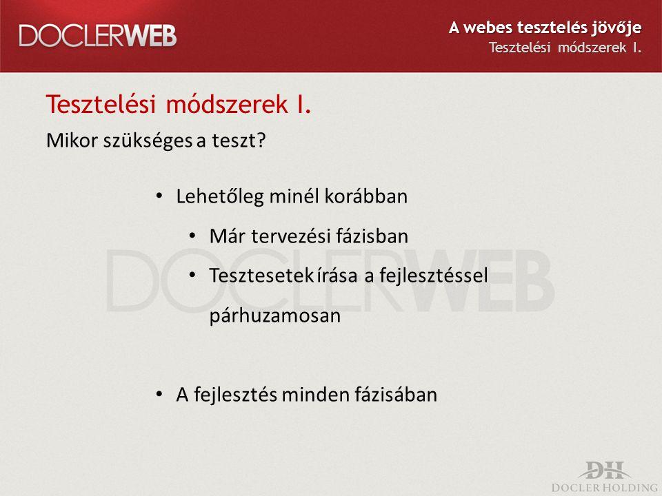 Tesztelési módszerek I.