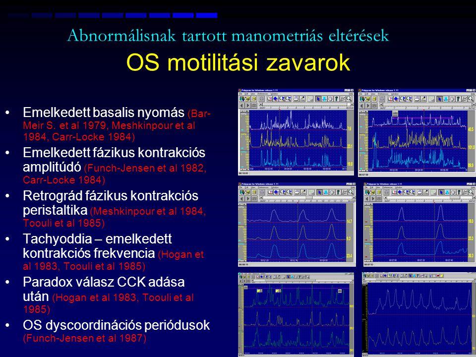 OS motilitási zavarok Abnormálisnak tartott manometriás eltérések