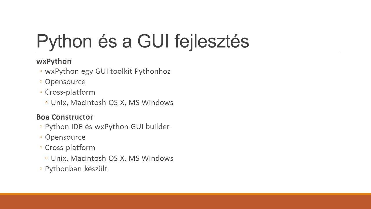 Python és a GUI fejlesztés
