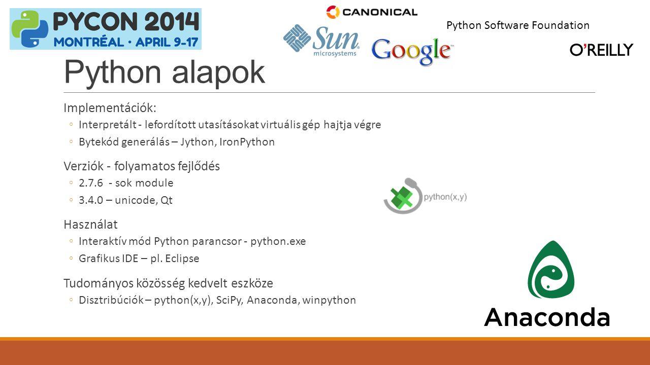 Python alapok Implementációk: Verziók - folyamatos fejlődés Használat