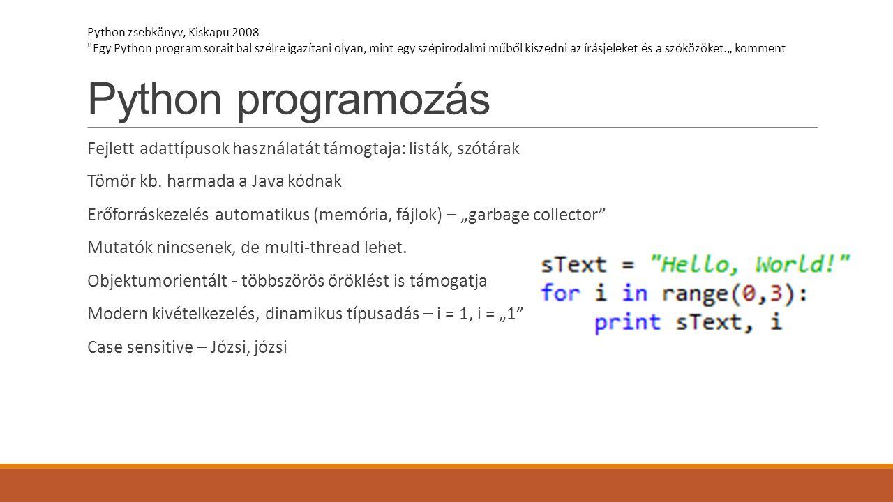 Python programozás Python zsebkönyv, Kiskapu 2008.