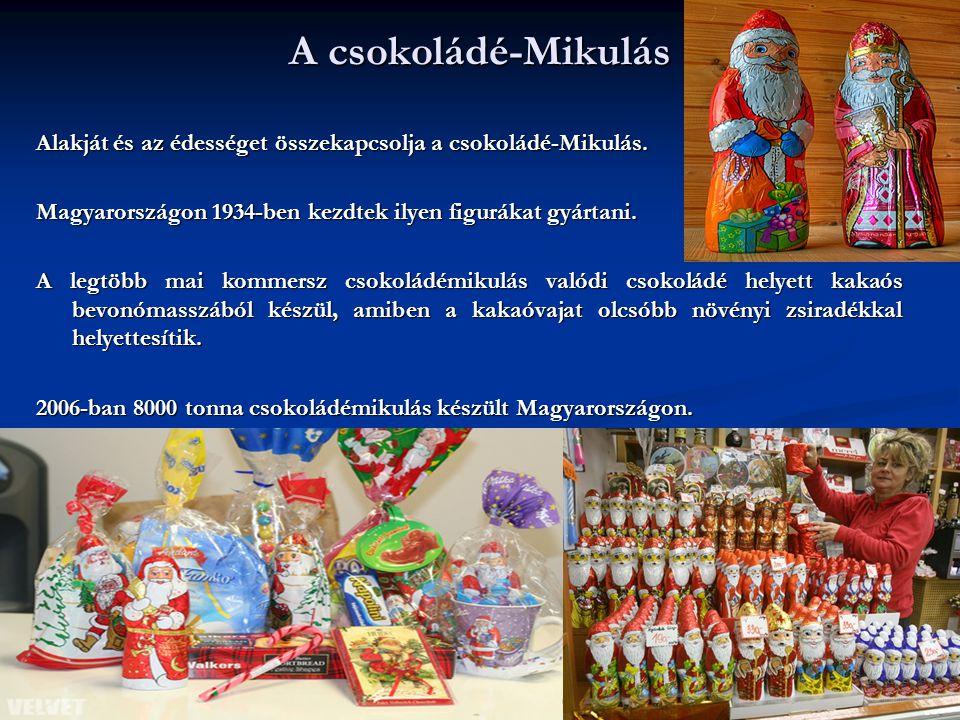 A csokoládé-Mikulás Alakját és az édességet összekapcsolja a csokoládé-Mikulás. Magyarországon 1934-ben kezdtek ilyen figurákat gyártani.