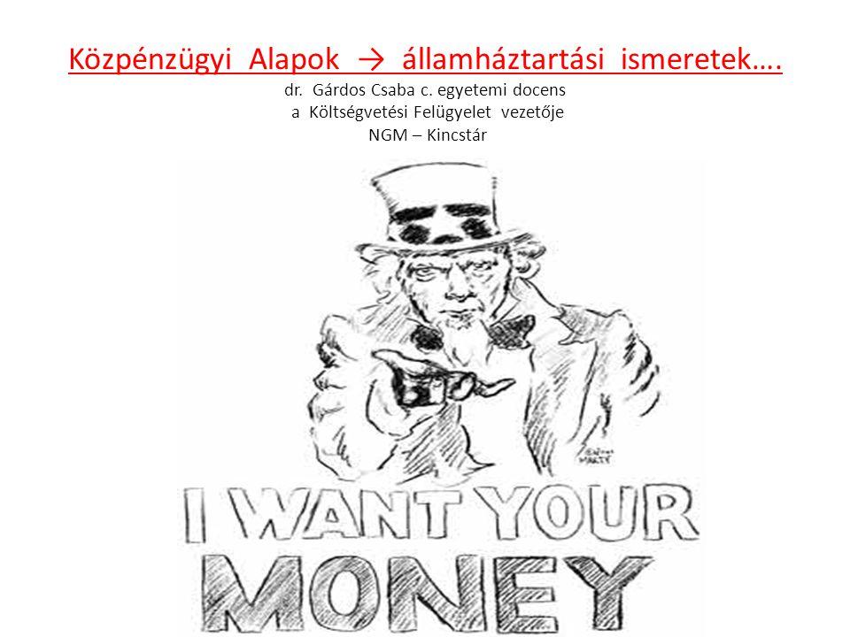 Közpénzügyi Alapok → államháztartási ismeretek…. dr. Gárdos Csaba c