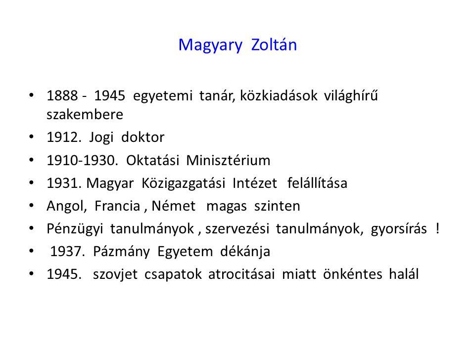 Magyary Zoltán 1888 - 1945 egyetemi tanár, közkiadások világhírű szakembere. 1912. Jogi doktor.