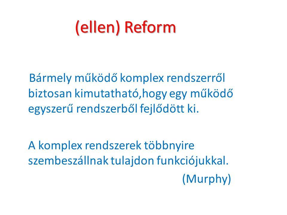(ellen) Reform Bármely működő komplex rendszerről biztosan kimutatható,hogy egy működő egyszerű rendszerből fejlődött ki.