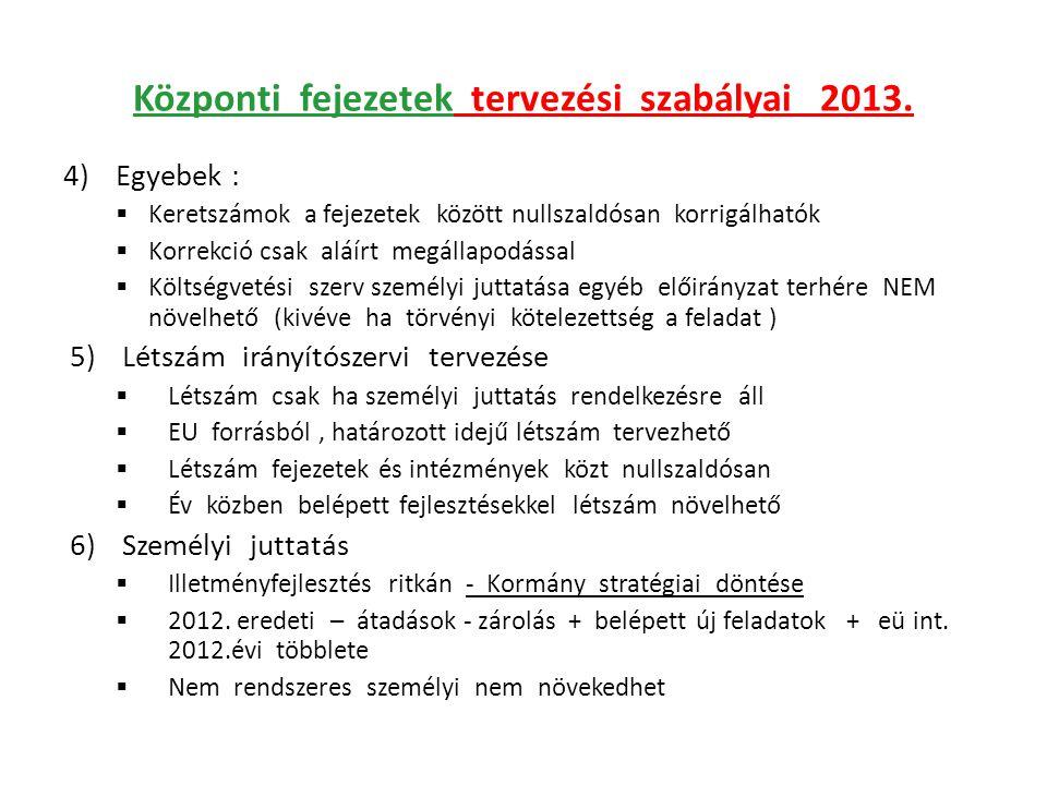 Központi fejezetek tervezési szabályai 2013.
