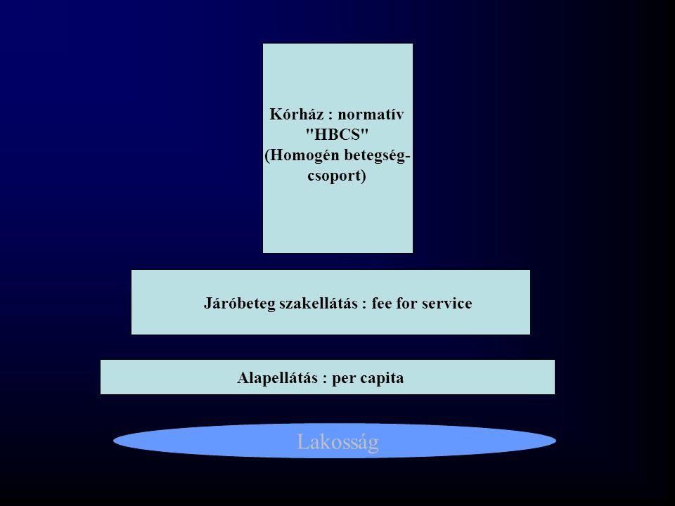 Járóbeteg szakellátás : fee for service Alapellátás : per capita