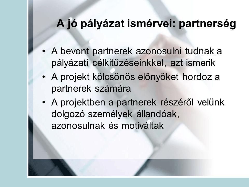 A jó pályázat ismérvei: partnerség