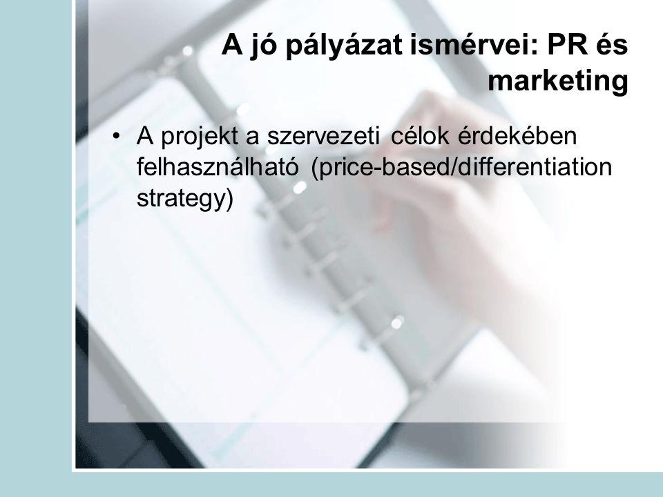 A jó pályázat ismérvei: PR és marketing