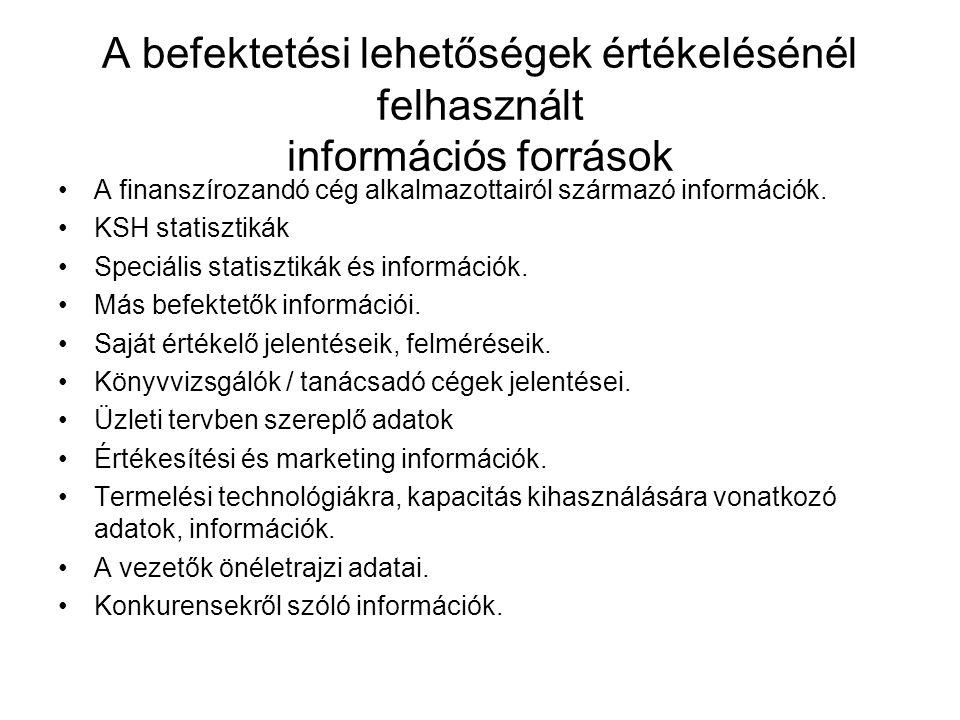 A befektetési lehetőségek értékelésénél felhasznált információs források