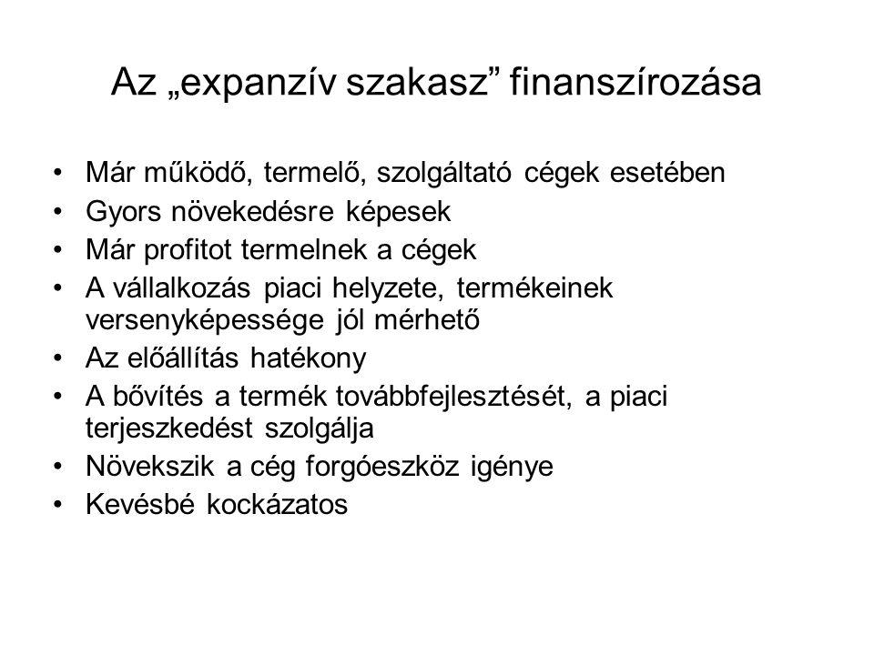 """Az """"expanzív szakasz finanszírozása"""