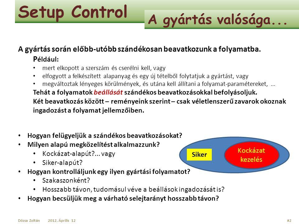 Setup Control A gyártás valósága...