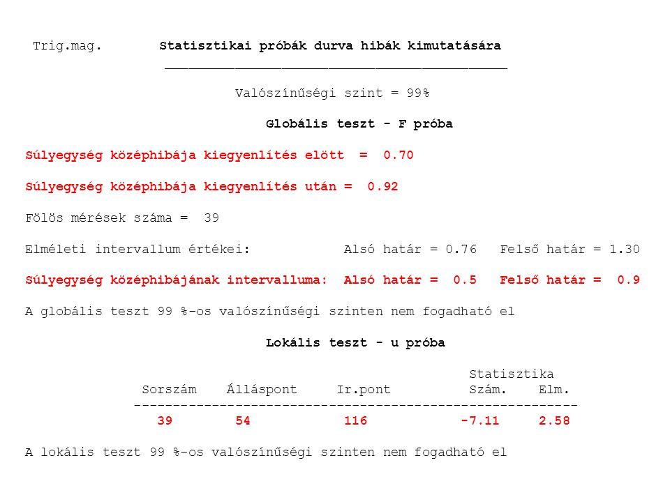 Trig.mag. Statisztikai próbák durva hibák kimutatására