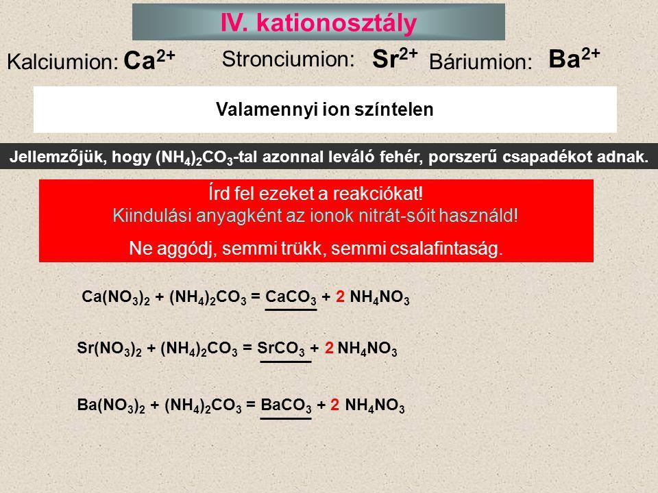 Valamennyi ion színtelen