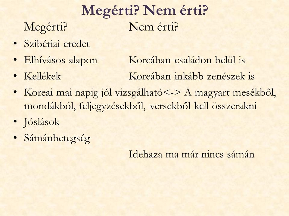 Megérti Nem érti Megérti Nem érti Szibériai eredet