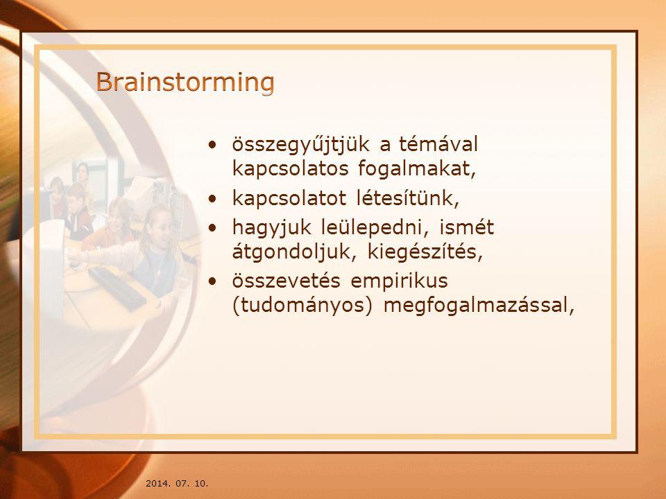 Brainstorming összegyűjtjük a témával kapcsolatos fogalmakat,