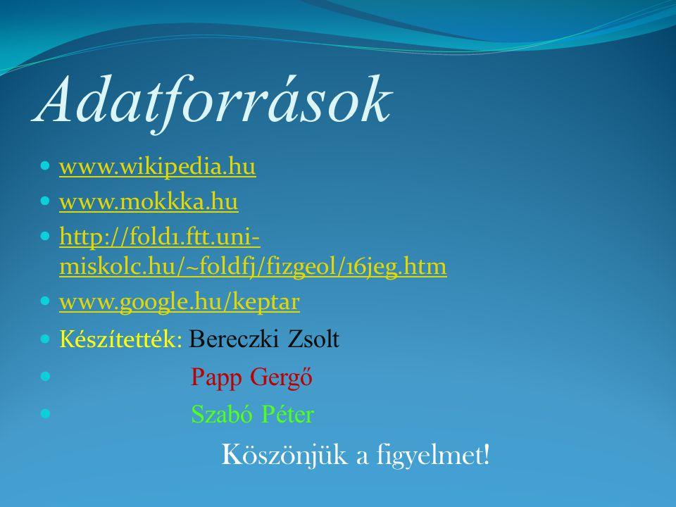 Adatforrások Papp Gergő Szabó Péter Köszönjük a figyelmet!