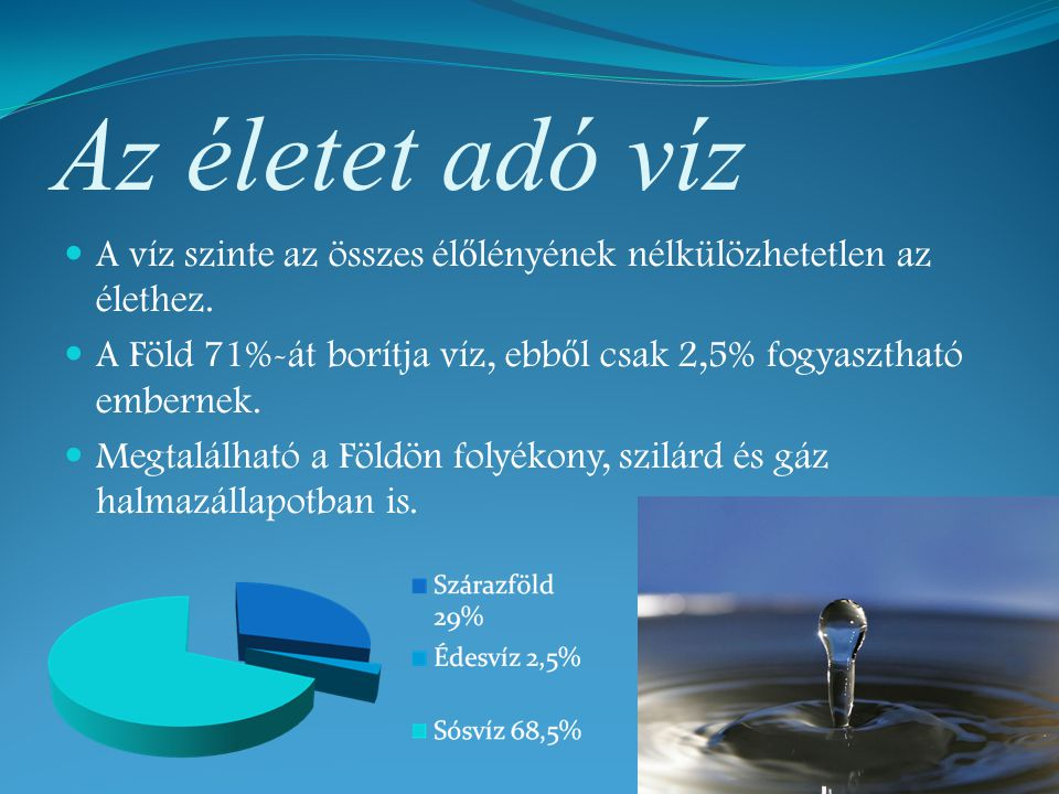 Az életet adó víz A víz szinte az összes élőlényének nélkülözhetetlen az élethez. A Föld 71%-át borítja víz, ebből csak 2,5% fogyasztható embernek.