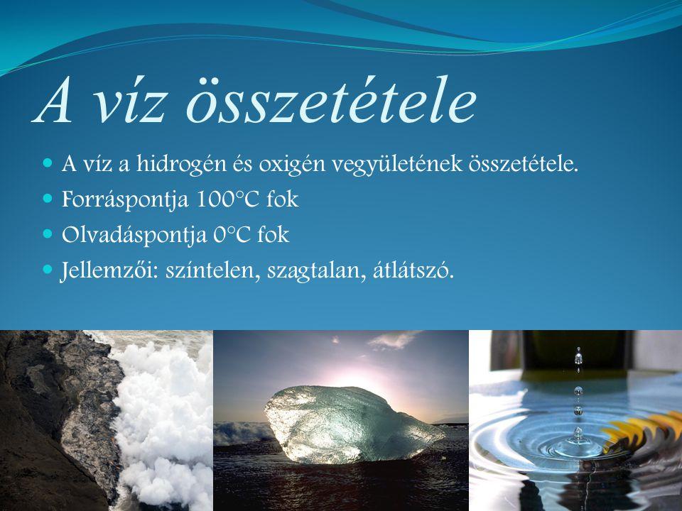 A víz összetétele A víz a hidrogén és oxigén vegyületének összetétele.