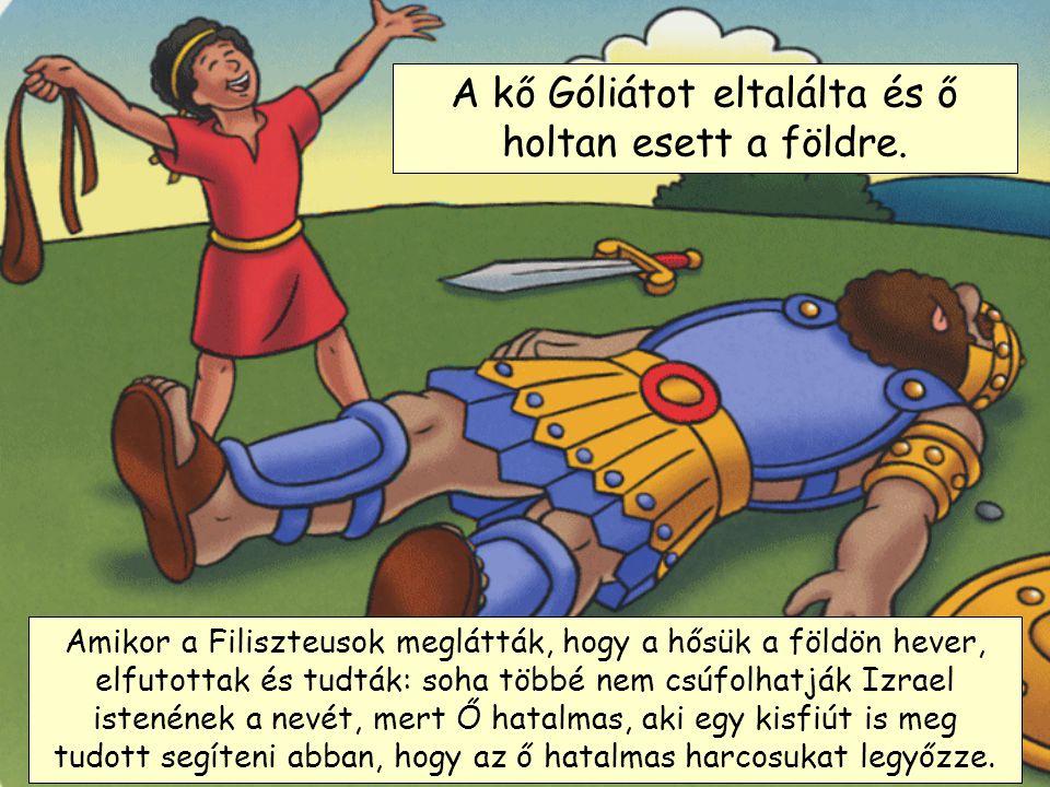 A kő Góliátot eltalálta és ő holtan esett a földre.