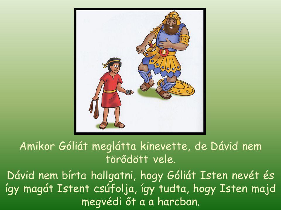 Amikor Góliát meglátta kinevette, de Dávid nem törődött vele.
