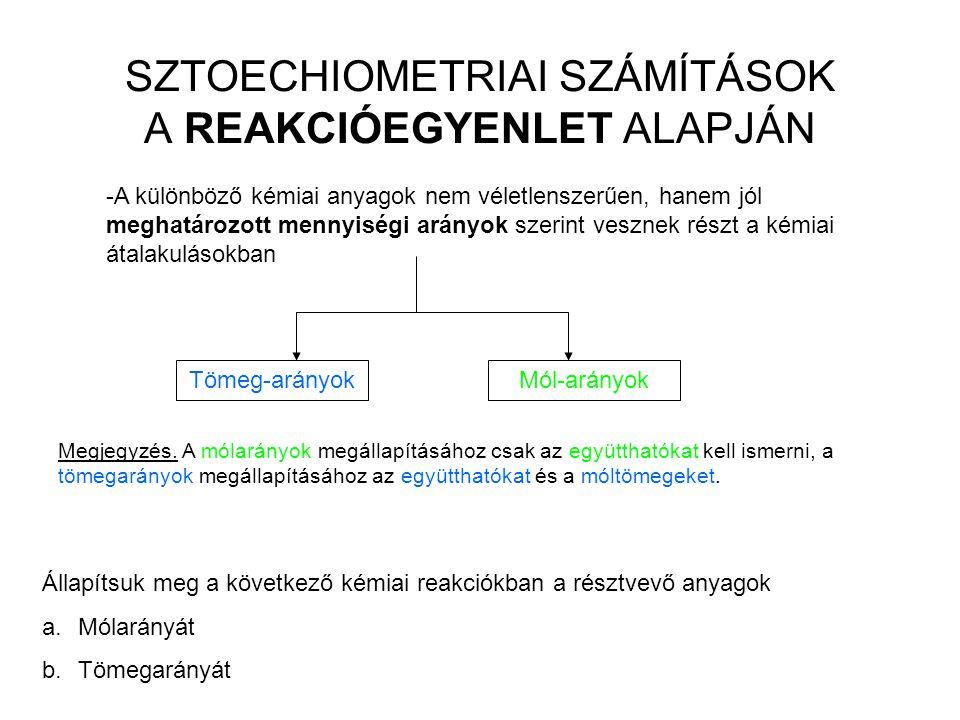 SZTOECHIOMETRIAI SZÁMÍTÁSOK A REAKCIÓEGYENLET ALAPJÁN