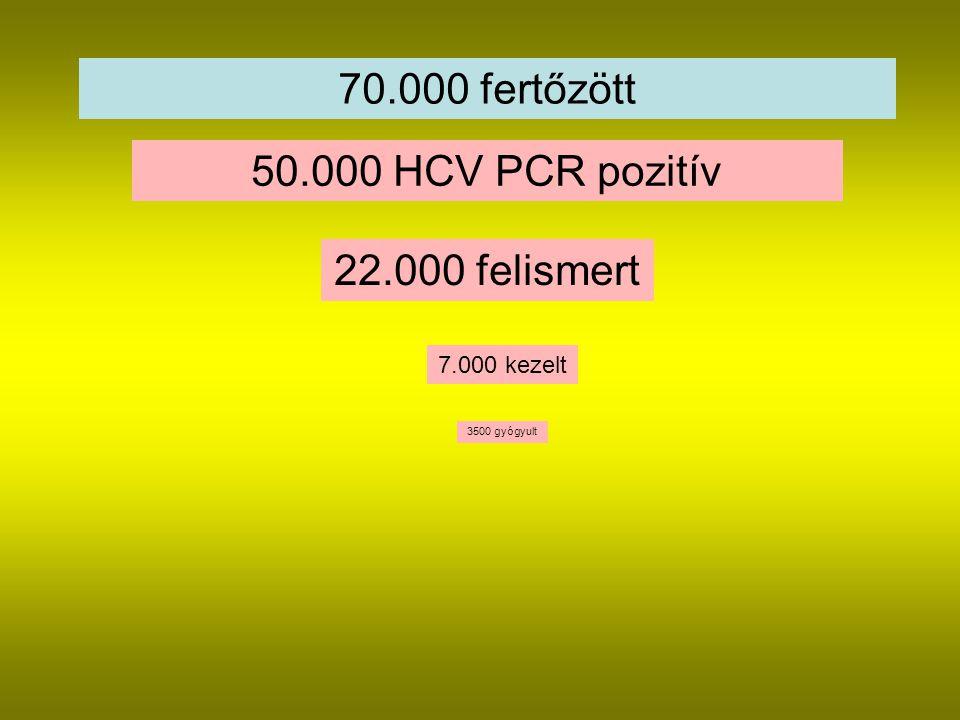 70.000 fertőzött 50.000 HCV PCR pozitív 22.000 felismert 7.000 kezelt