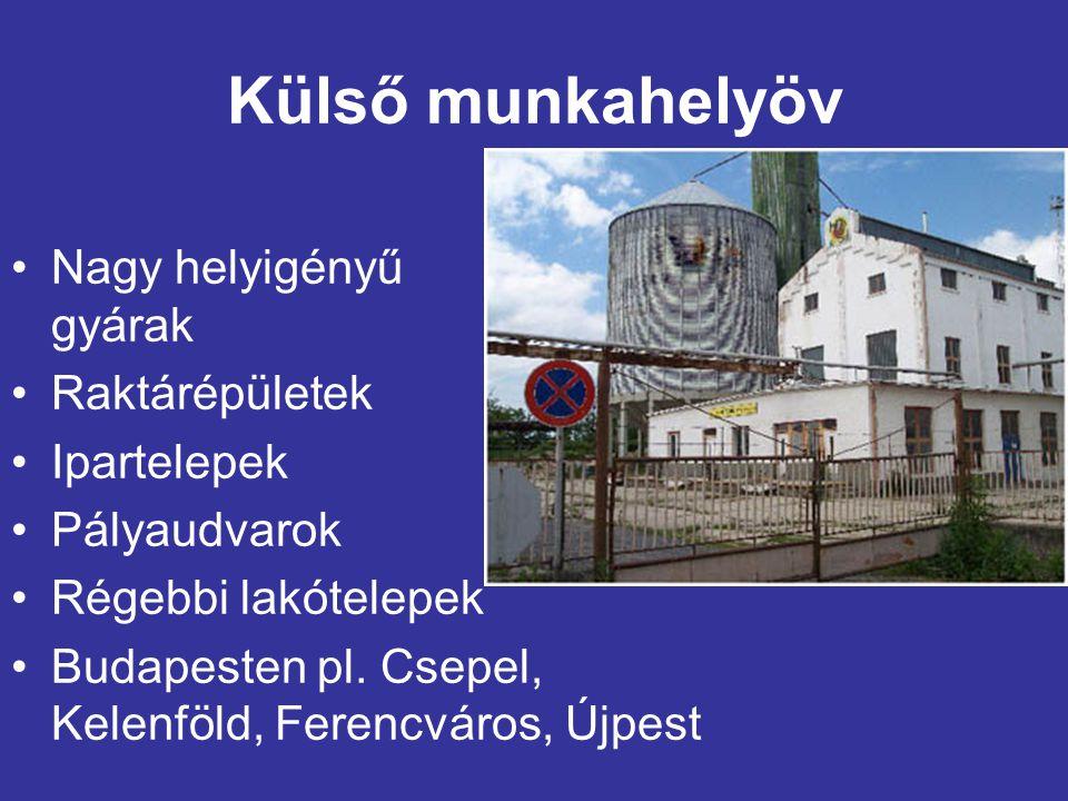 Külső munkahelyöv Nagy helyigényű gyárak Raktárépületek Ipartelepek