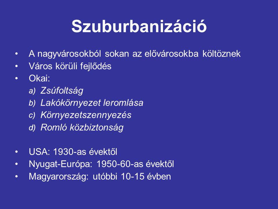 Szuburbanizáció A nagyvárosokból sokan az elővárosokba költöznek