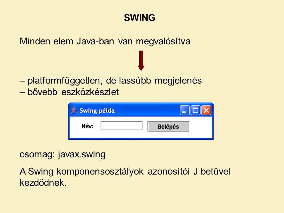 SWING Minden elem Java-ban van megvalósítva. – platformfüggetlen, de lassúbb megjelenés. – bővebb eszközkészlet.