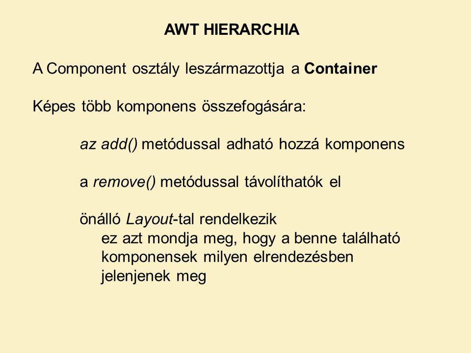 AWT HIERARCHIA A Component osztály leszármazottja a Container. Képes több komponens összefogására: