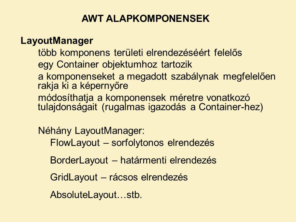 AWT ALAPKOMPONENSEK LayoutManager. több komponens területi elrendezéséért felelős. egy Container objektumhoz tartozik.