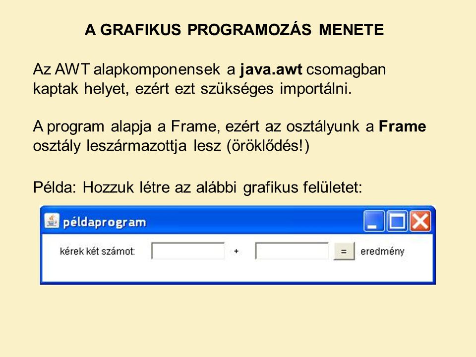A GRAFIKUS PROGRAMOZÁS MENETE