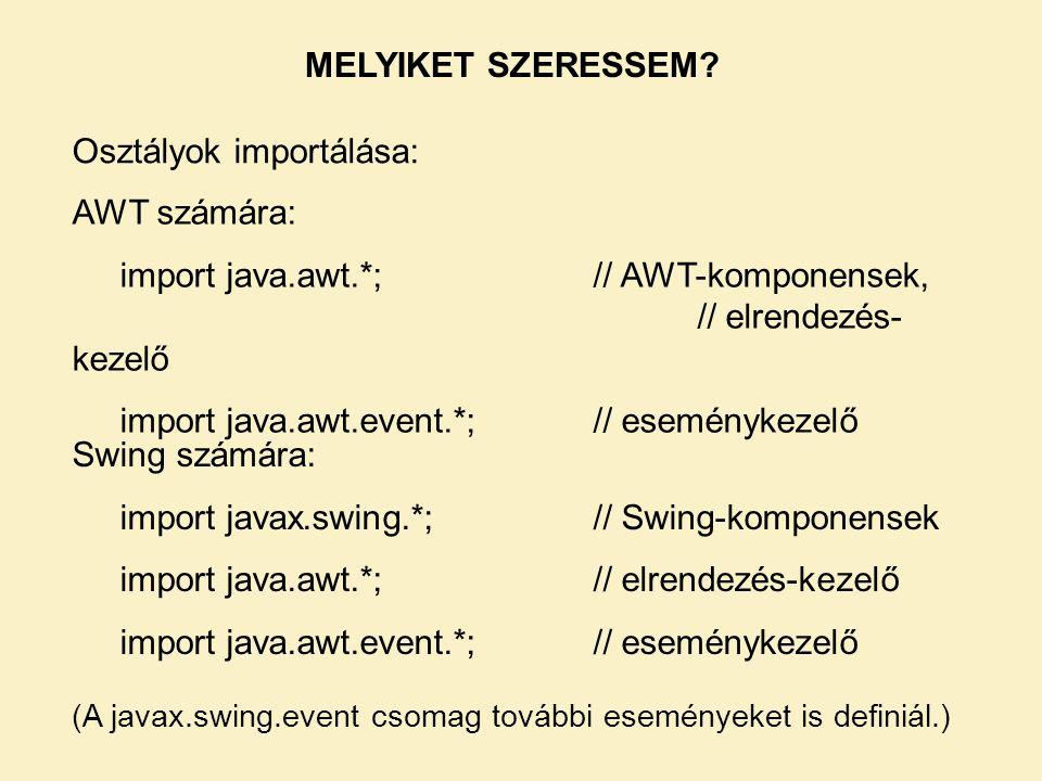 Osztályok importálása: