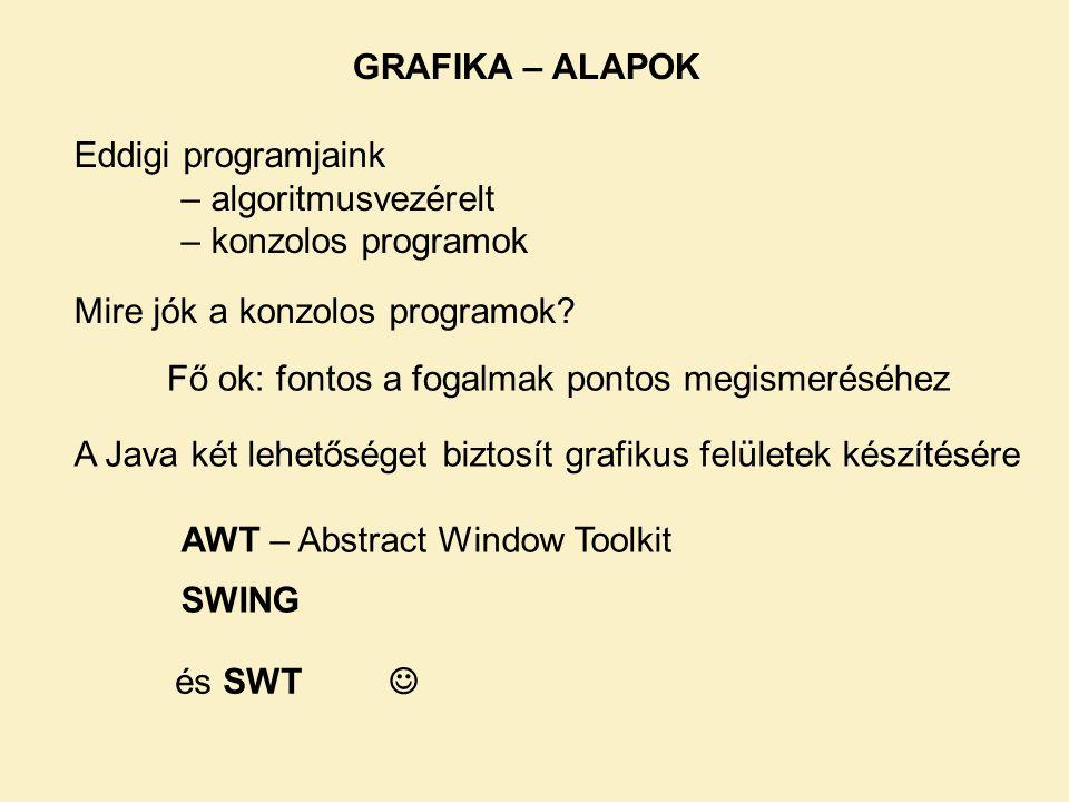 GRAFIKA – ALAPOK Eddigi programjaink. – algoritmusvezérelt. – konzolos programok. Mire jók a konzolos programok