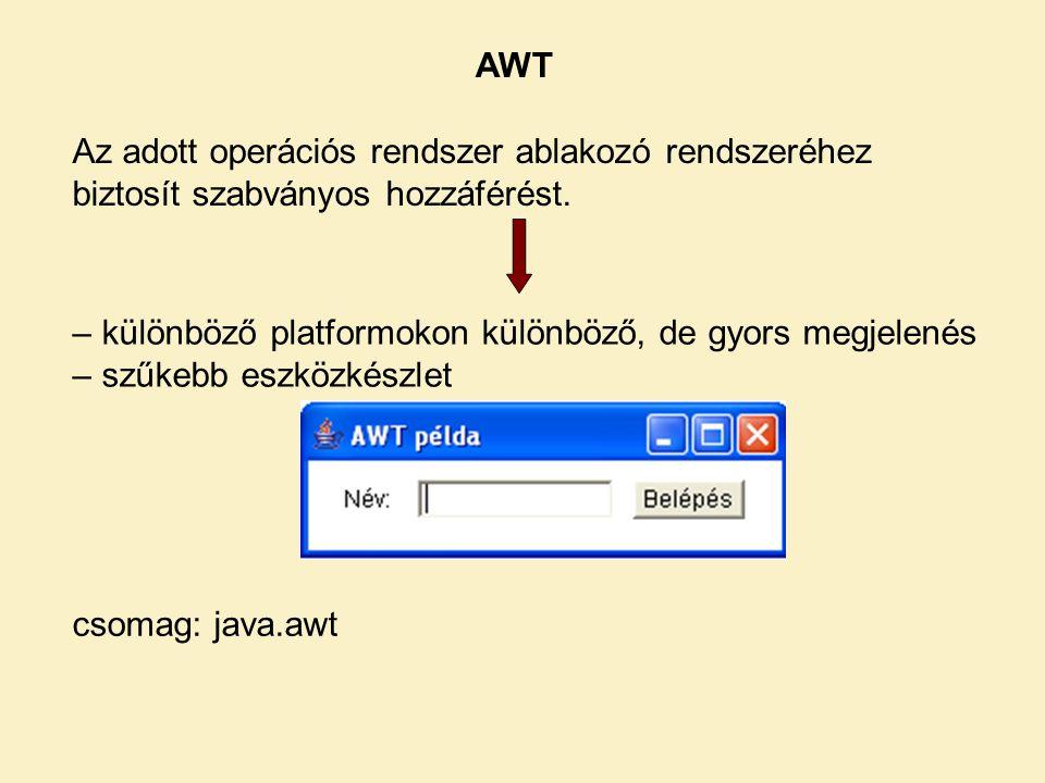 AWT Az adott operációs rendszer ablakozó rendszeréhez biztosít szabványos hozzáférést. – különböző platformokon különböző, de gyors megjelenés.
