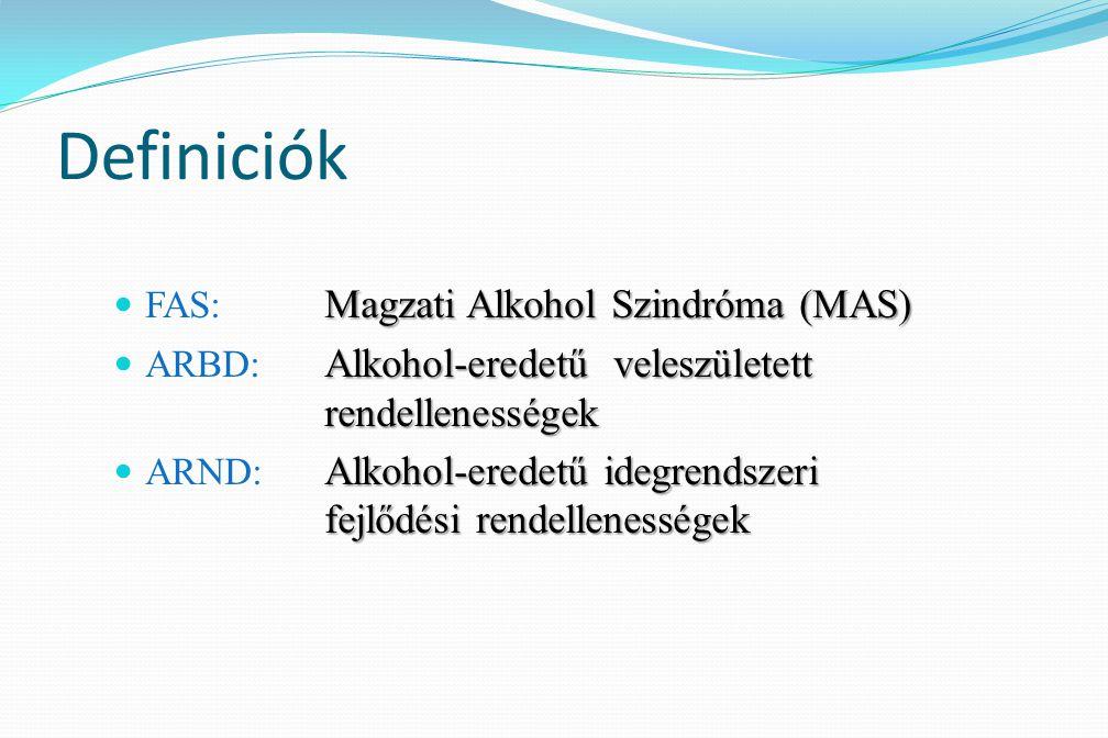 Definiciók FAS: Magzati Alkohol Szindróma (MAS)