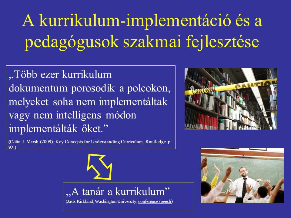 A kurrikulum-implementáció és a pedagógusok szakmai fejlesztése
