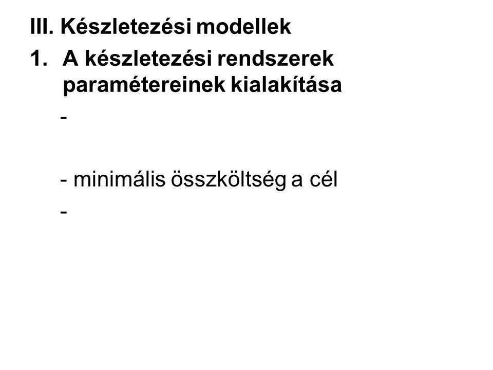 III. Készletezési modellek