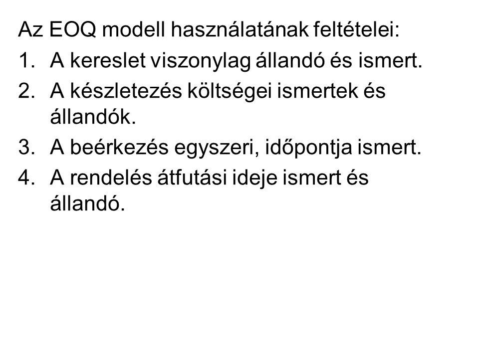 Az EOQ modell használatának feltételei: