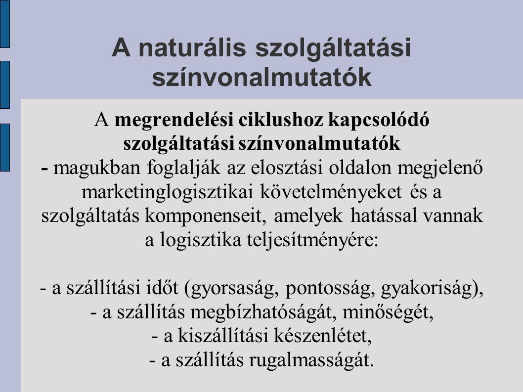 A naturális szolgáltatási színvonalmutatók