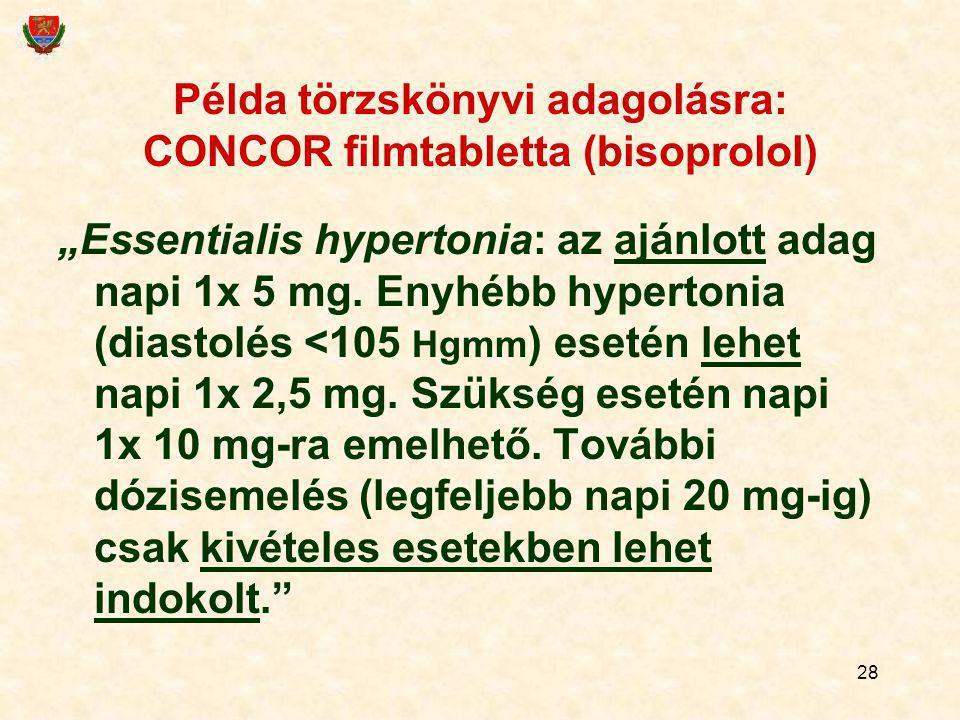 Példa törzskönyvi adagolásra: CONCOR filmtabletta (bisoprolol)