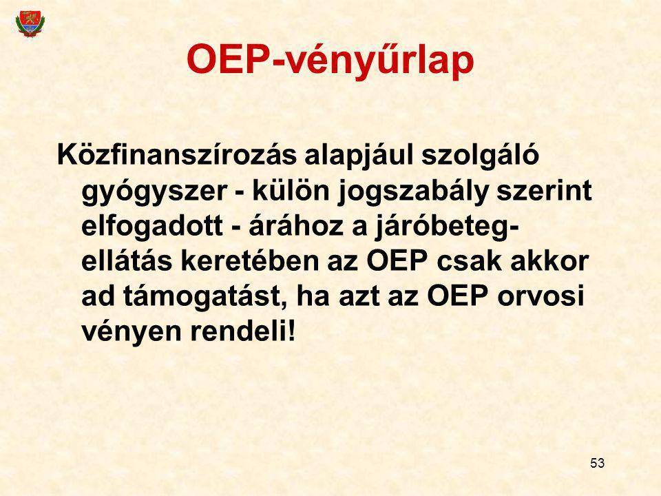 OEP-vényűrlap