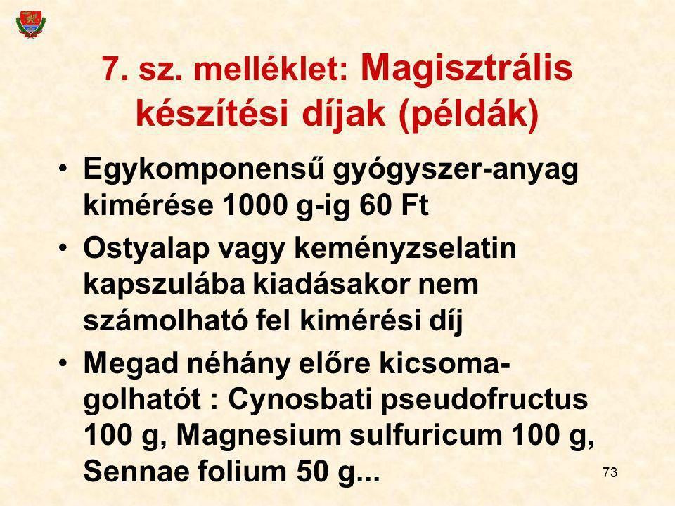 7. sz. melléklet: Magisztrális készítési díjak (példák)