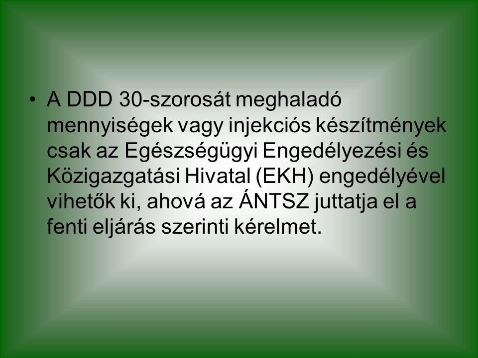 A DDD 30-szorosát meghaladó mennyiségek vagy injekciós készítmények csak az Egészségügyi Engedélyezési és Közigazgatási Hivatal (EKH) engedélyével vihetők ki, ahová az ÁNTSZ juttatja el a fenti eljárás szerinti kérelmet.
