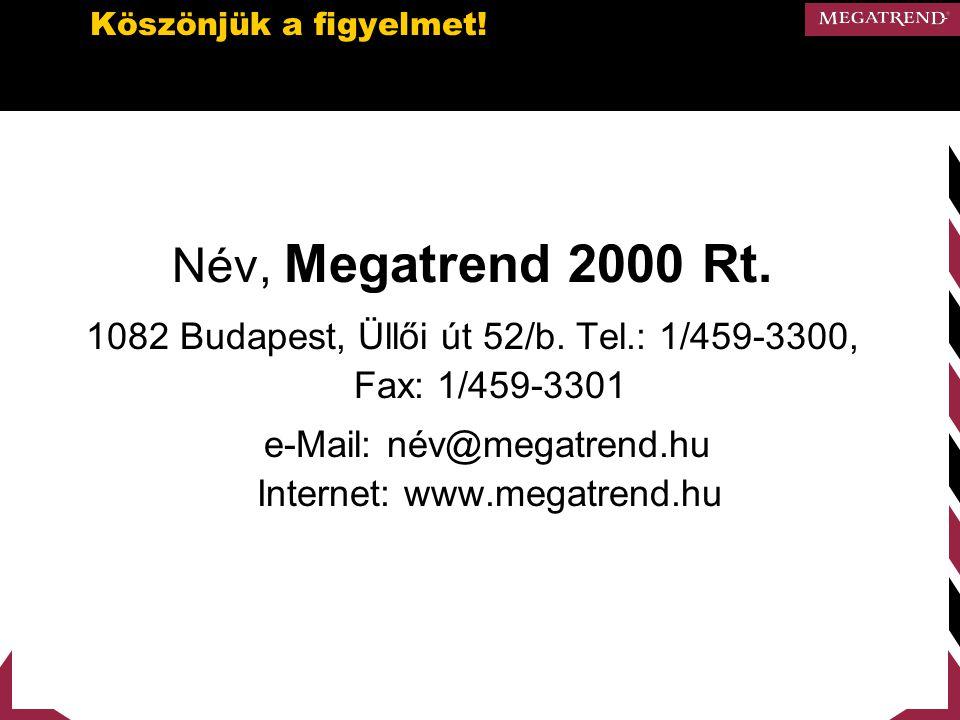 Köszönjük a figyelmet! Név, Megatrend 2000 Rt. 1082 Budapest, Üllői út 52/b. Tel.: 1/459-3300, Fax: 1/459-3301.