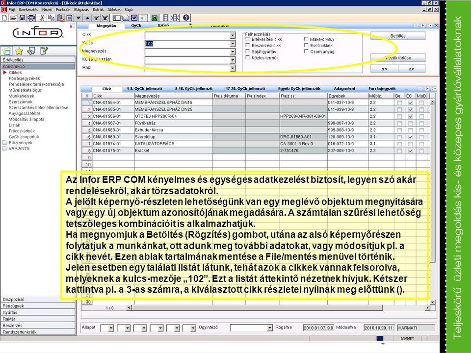 Az Infor ERP COM kényelmes és egységes adatkezelést biztosít, legyen szó akár rendelésekről, akár törzsadatokról.