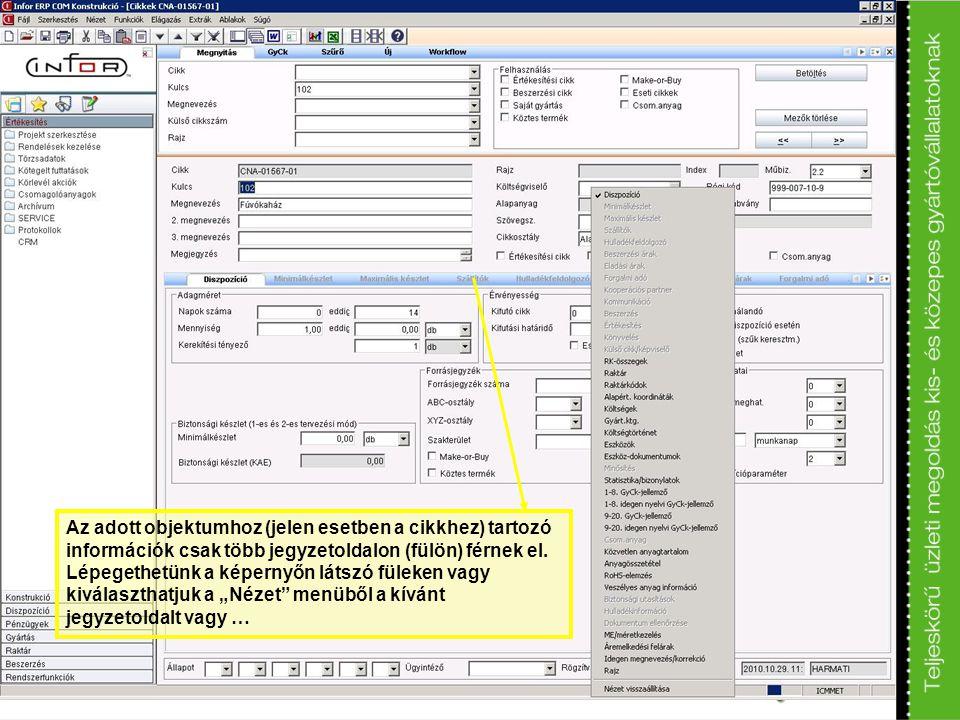 Az adott objektumhoz (jelen esetben a cikkhez) tartozó információk csak több jegyzetoldalon (fülön) férnek el.