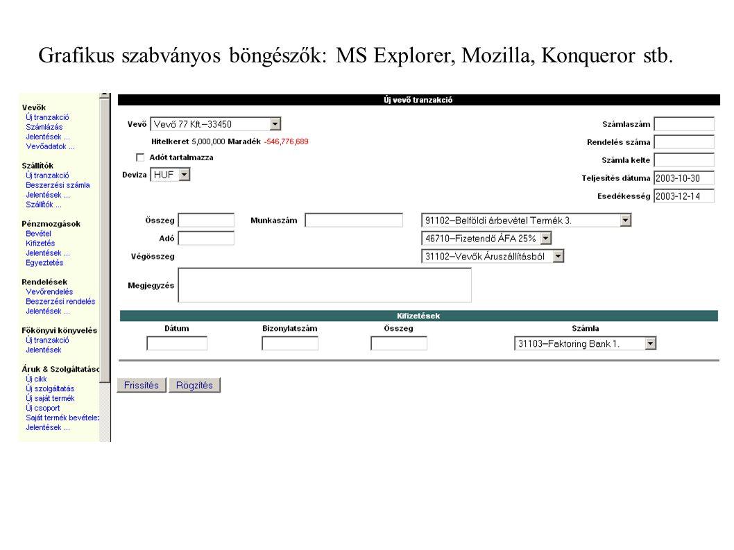 Grafikus szabványos böngészők: MS Explorer, Mozilla, Konqueror stb.