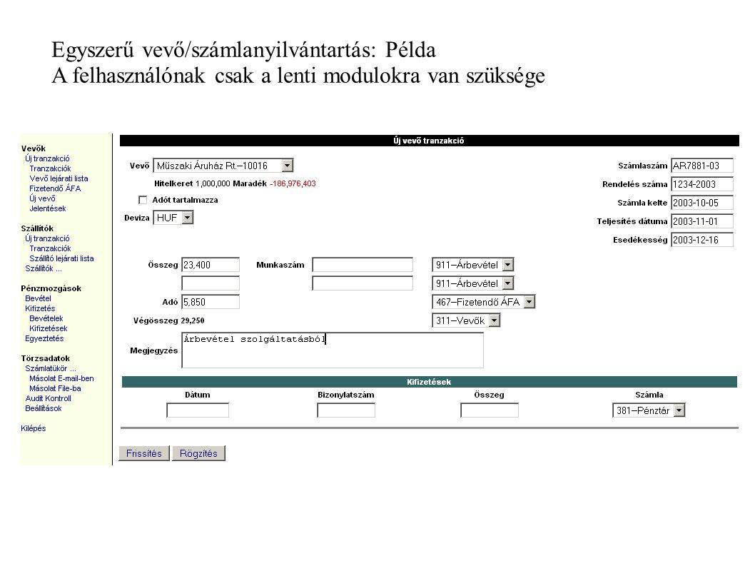 Egyszerű vevő/számlanyilvántartás: Példa